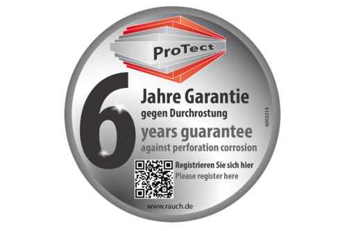 6 year warranty against rusting